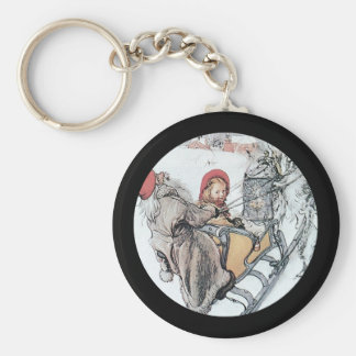 Christmas Nisse and Kersti on Sleigh Ride Basic Round Button Keychain