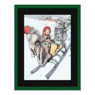 Christmas Nisse and Kersti on Sleigh Ride Card