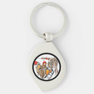 Christmas Nisse and Kersti on Sleigh Ride Silver-Colored Swirl Keychain