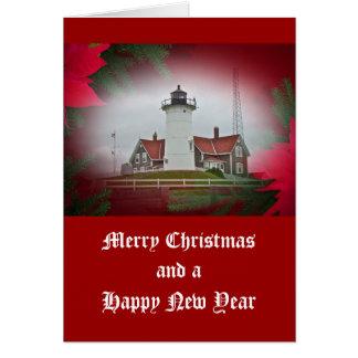 Christmas Nobska Point Lighthouse Card