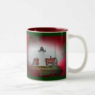 Christmas Nobska Point Lighthouse Two-Tone Coffee Mug