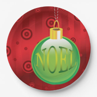 Christmas Noel Green Ornament Holiday Red Xmas 9 Inch Paper Plate