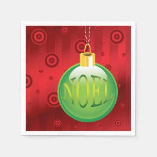 Christmas Noel Green Ornament Holiday Red Xmas Disposable Napkin