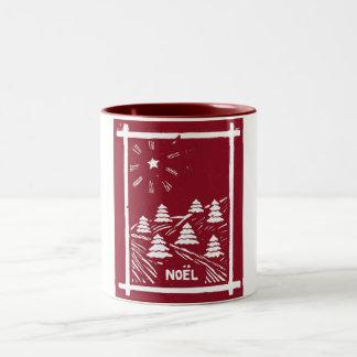 Christmas Noel Woodcut Mug Red