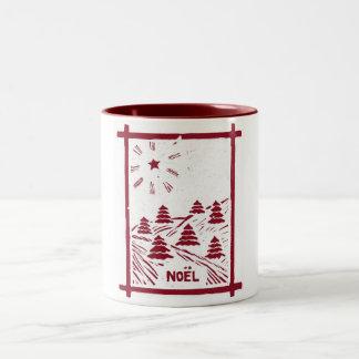 Christmas Noel Woodcut Mug White