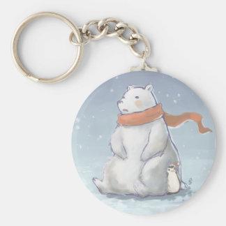 Christmas North Pole Cute Polar Bear and Penguin Basic Round Button Keychain