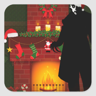 christmas nosferatu square sticker