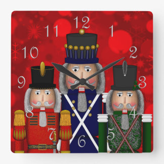 Christmas Nutcracker Trio-Square Wall Clock