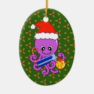 Christmas octopus ceramic ornament