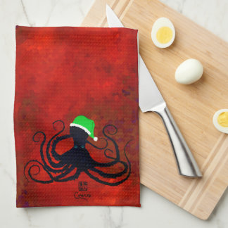 Christmas Octopus On Red - Kitchen Towel