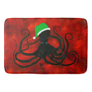 Christmas Octopus On Red - Large Bath Mat