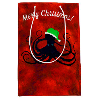 Christmas Octopus On Red - Medium Gift Bag