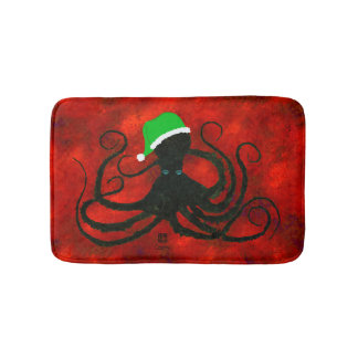 Christmas Octopus On Red - Small Bath Mat