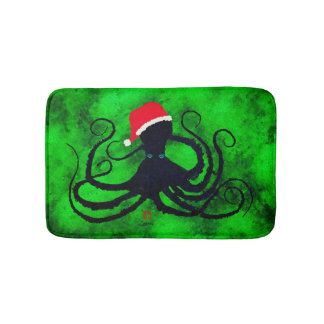 Christmas Octopus - Small Bath Mat