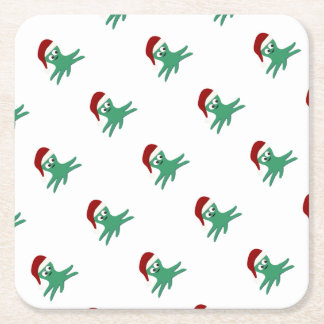 Christmas Octopus Square Paper Coaster