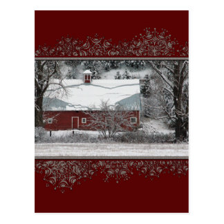 Christmas Old Red Barn in the Snow Postcard