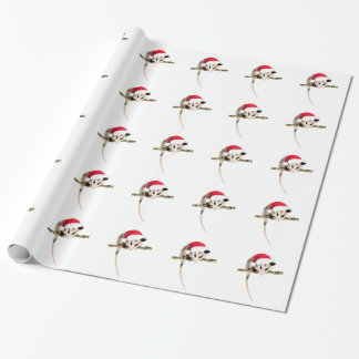 Christmas opossum wrapping paper