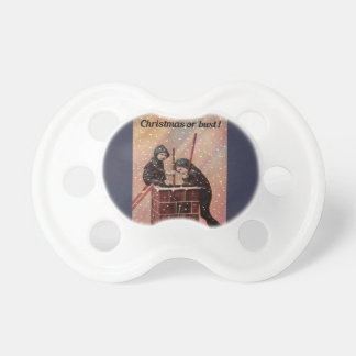 Christmas Or Bust, Boy Chimney Sweep Antique Photo Pacifiers