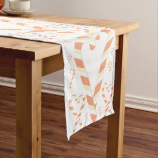 Christmas Orange Candy Cane Table Runner