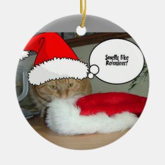 Christmas Orange Tabby Cat Ceramic Ornament