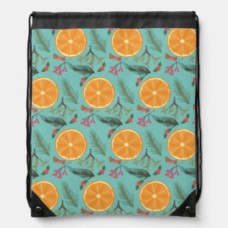 Christmas Orange Wreath Print Blue Drawstring Bag