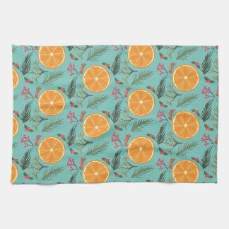 Christmas Orange Wreath Print Blue Kitchen Towel