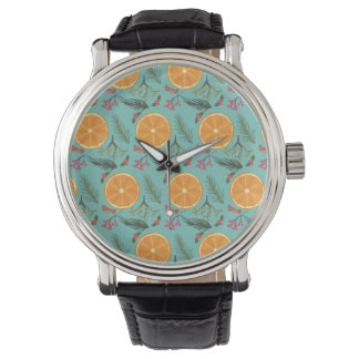 Christmas Orange Wreath Print Blue Watch