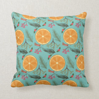 Christmas Orange Wreath Print Cushion