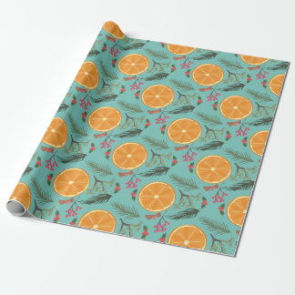 Christmas Orange Wreath Print Wrapping Paper