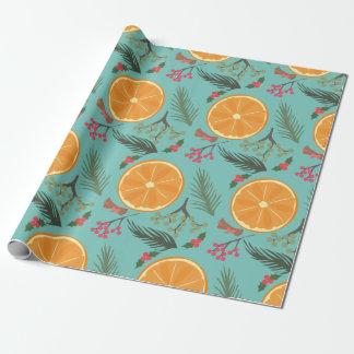 Christmas Orange Wreath Print Wrapping Paper