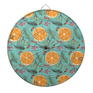 Christmas Orange Wreath Turquoise Dartboard