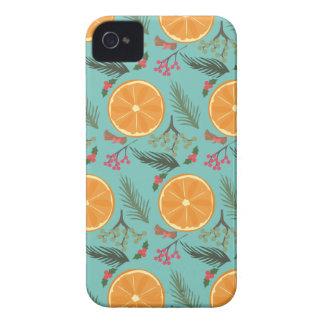 Christmas Orange Wreath Turquoise iPhone 4 Case-Mate Case