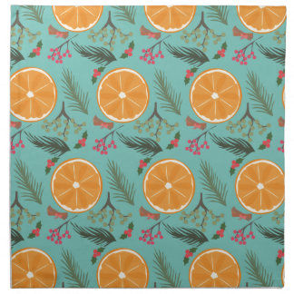Christmas Orange Wreath Turquoise Napkin