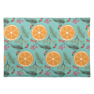 Christmas Orange Wreath Turquoise Placemat