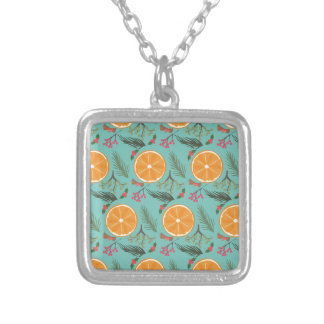 Christmas Orange Wreath Turquoise Silver Plated Necklace