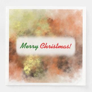 Christmas; Orange, Yellow & Gray Mist-Like Pattern Paper Napkin