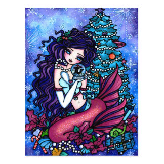 Christmas Orca Mermaid Fantasy Art Postcard