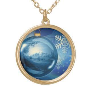 Christmas Ornament Ball Evening Advent Blue Gold Plated Necklace