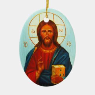 Christmas Ornament, Christ Pantocrator Ceramic Ornament