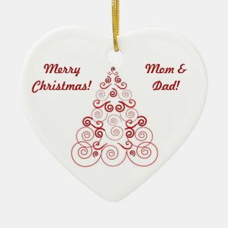Christmas ornament for Mom & Dad, swirl tree, red
