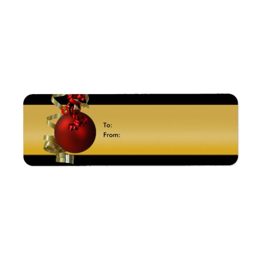 Christmas ornament gift tags ribbons red gold