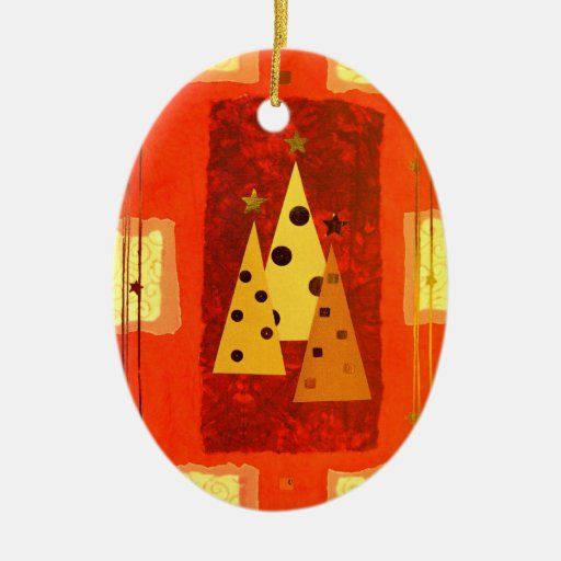 Christmas ornament oval patchwork tree