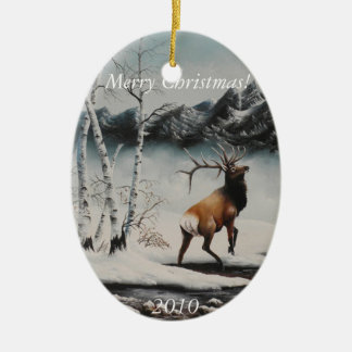 Christmas Ornament Painting Elk in snow
