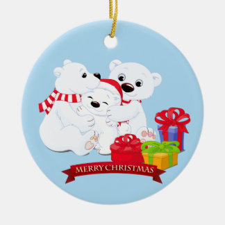 Christmas Ornament-Polar Bear Family Ceramic Ornament