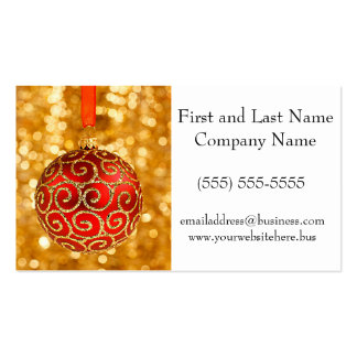 Christmas Ornament Red with Gold Twinkle Lights Business Card