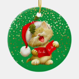 Christmas Ornament-Santa Kitty Ceramic Ornament