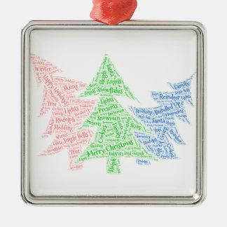 Christmas ornament shaped word cloud three trees