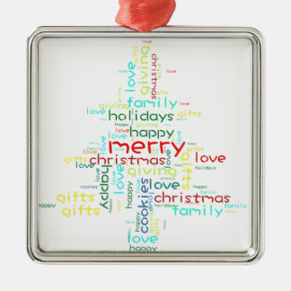 Christmas ornament shaped word cloud tree
