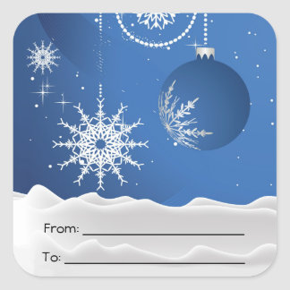 Christmas Ornament Snow Snowflakes Square Stickers