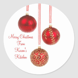 Christmas ornament sticker red
